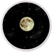 Round Beach Towel featuring the digital art Full Moon Summer Fantasy by Aliceann Carlton