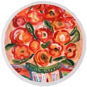 Full Of Jolly Colors Round Beach Towel