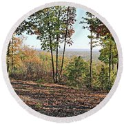 Full Panoramic View From The Summit Of Brown's Mountain Trail Round Beach Towel
