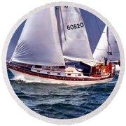 Full Sail Ahead Round Beach Towel