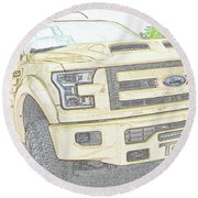 Round Beach Towel featuring the photograph Full Sized Toy Truck by John Schneider