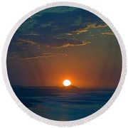 Round Beach Towel featuring the photograph Full Sun Up by  Newwwman