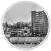 Round Beach Towel featuring the photograph Fulton Skyline Black And White by Rod Best