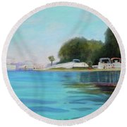 Fun At Salt Springs Too Round Beach Towel