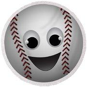 Fun Baseball Character Round Beach Towel