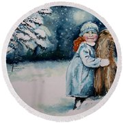 Round Beach Towel featuring the painting Fun In The Snow by Geni Gorani