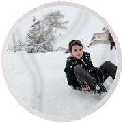 Round Beach Towel featuring the photograph Fun On Snow-1 by Okan YILMAZ