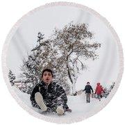 Round Beach Towel featuring the photograph Fun On Snow-2 by Okan YILMAZ