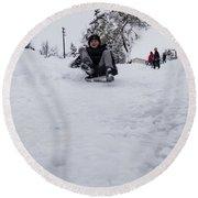 Round Beach Towel featuring the photograph Fun On Snow-3 by Okan YILMAZ