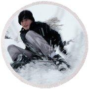Round Beach Towel featuring the photograph Fun On Snow-4 by Okan YILMAZ
