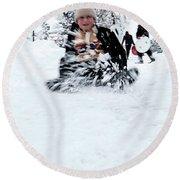 Round Beach Towel featuring the photograph Fun On Snow-5 by Okan YILMAZ