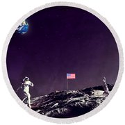 Round Beach Towel featuring the digital art Fun On The Moon by Methune Hively