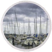 Round Beach Towel featuring the photograph Funchal Marina by Lynn Bolt