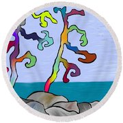 Round Beach Towel featuring the digital art Funky Beach Trees by Paula Brown