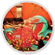 Funky Brooklyn Fire Escape  Round Beach Towel by Funkpix Photo Hunter