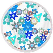 Funky Flower Pattern Round Beach Towel by Methune Hively