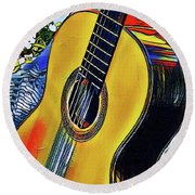 Funky Guitar Round Beach Towel by The Art of Alice Terrill