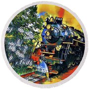 Funky Locomotive Steam Engine Round Beach Towel by The Art of Alice Terrill