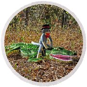 Round Beach Towel featuring the photograph Funky Monkey - Reptile Rider by Al Powell Photography USA