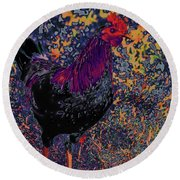 Funky Rooster No 5 Round Beach Towel