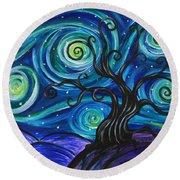 Funky Tree, Starry Night Round Beach Towel
