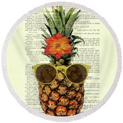 Funny And Cute Pineapple Art Round Beach Towel