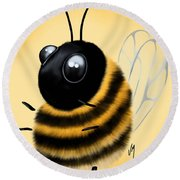 Round Beach Towel featuring the painting Funny Bee by Veronica Minozzi