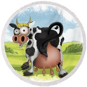 Round Beach Towel featuring the drawing Funny Cow by Julia Art