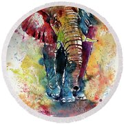 Round Beach Towel featuring the painting Funny Elephant by Kovacs Anna Brigitta