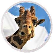 Funny Face Giraffe Round Beach Towel