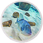 Funny Fish Round Beach Towel