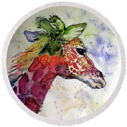 Round Beach Towel featuring the painting Funny Giraffe by Kovacs Anna Brigitta