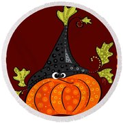Round Beach Towel featuring the painting Funny Halloween by Veronica Minozzi