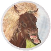 Funny Iceland Horse Round Beach Towel