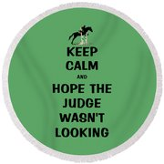 Funny Keep Calm Horse Round Beach Towel