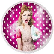 Round Beach Towel featuring the photograph Funny Pin-up Woman Pressing Clothes. Dry Cleaning by Jorgo Photography - Wall Art Gallery
