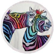 Funny Zebras Round Beach Towel
