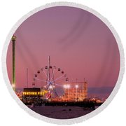 Funtown Pier At Sunset IIi - Jersey Shore Round Beach Towel