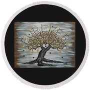Round Beach Towel featuring the drawing Furever Love Tree W/ Paws by Aaron Bombalicki