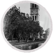 Furman University Bell Tower Greenville South Carolina Black And White Round Beach Towel