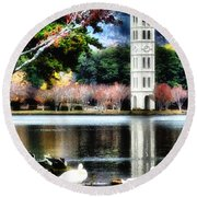 Round Beach Towel featuring the painting Furman University Bell Tower by Lynne Jenkins