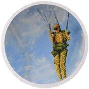 Fury From The Sky  Round Beach Towel