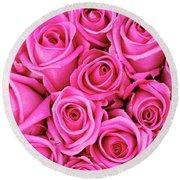 Fuschia Colored Roses Round Beach Towel