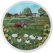 Round Beach Towel featuring the painting Future Farmer by Virginia Coyle