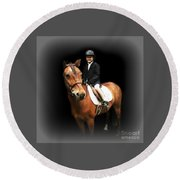 Future Horse Woman Round Beach Towel by Barbara S Nickerson