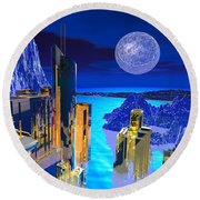 Futuristic City Round Beach Towel