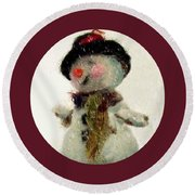 Round Beach Towel featuring the photograph Fuzzy The Snowman by Mary Wolf