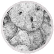 Round Beach Towel featuring the drawing Fuzzy Wuzzy Bear  by Vicki  Housel