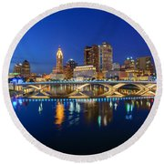 Fx2l531 Columbus Ohio Skyline Photo Round Beach Towel