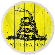 Gadsden Flag On Old Wood Planks Round Beach Towel